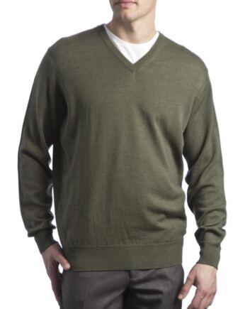 Mens Great & British Knitwear 100% Merino Plain V Neck Jumper Landscape B Small