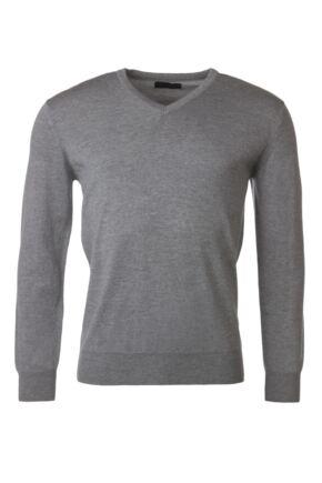 Mens Great & British Knitwear 100% Merino Plain V Neck Jumper Dove Grey B Small