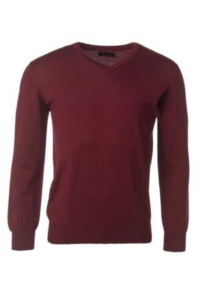 Mens Great & British Knitwear 100% Merino Plain V Neck Jumper Bordeaux C Medium