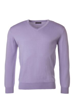 Mens Great & British Knitwear 100% Merino Plain V Neck Jumper Lupin C Medium