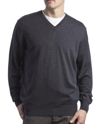 Mens Great & British Knitwear 100% Merino Plain V Neck Jumper Metallic C Medium