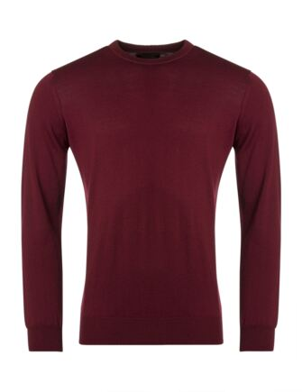 Mens Great & British Knitwear 100% Merino Plain Crew Neck Jumper Bordeaux Extra Large