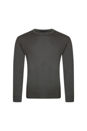 Mens Great & British Knitwear 100% Merino Plain Crew Neck Jumper Dark Grey C Medium