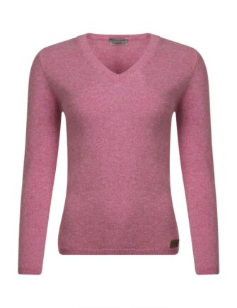 Ladies Great & British Knitwear 100% Lambswool V Neck Jumper with Elbow Patch Detail Nougat Medium