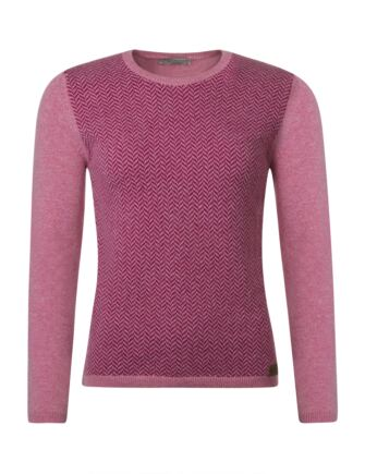 Ladies Great & British Knitwear 100% Lambswool Herringbone Round Neck Jumper with Elbow Patch Detail Nougat Small