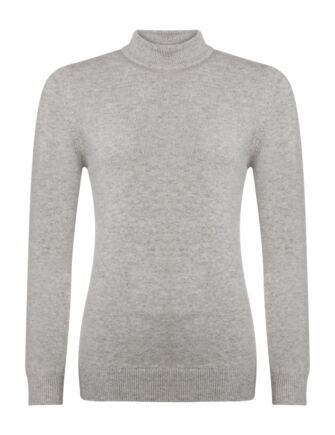 Ladies Great & British Knitwear 100% Lambswool Mock Turtle Neck Jumper Pearl Grey Extra Large