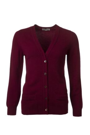Ladies Great & British Knitwear 100% Lambswool V Neck Cardigan With Pockets Bordeaux B Small