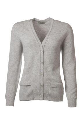 Ladies Great & British Knitwear 100% Lambswool V Neck Cardigan With Pockets Pearl Grey C Medium
