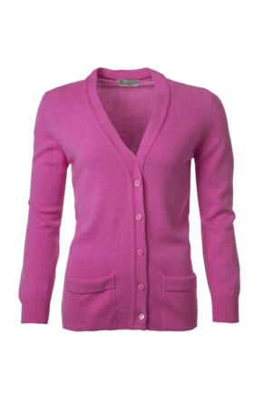 Ladies Great & British Knitwear 100% Lambswool V Neck Cardigan With Pockets Cabaret C Medium