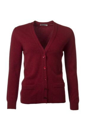 Ladies Great & British Knitwear 100% Lambswool V Neck Cardigan With Pockets Magma C Medium