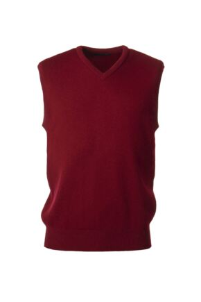 Mens Great & British Knitwear 100% Lambswool Plain V Neck Slipover Bordeaux B Small