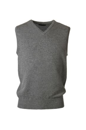 Mens Great & British Knitwear 100% Lambswool Plain V Neck Slipover Dove Grey D Large