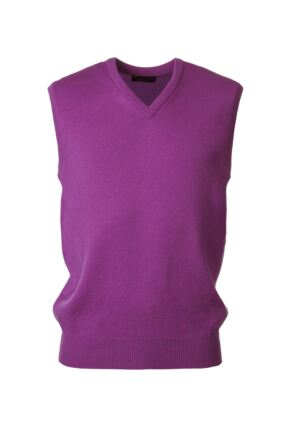 Mens Great & British Knitwear 100% Lambswool Plain V Neck Slipover Foxglove D Large