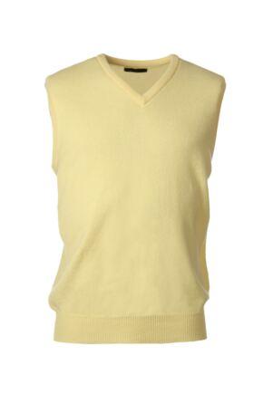 Mens Great & British Knitwear 100% Lambswool Plain V Neck Slipover Solar F Xx-Large