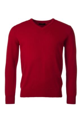 Mens Great & British Knitwear 100% Lambswool Plain V Neck Jumper Reds Orange and Yellow