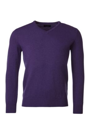 Mens Great & British Knitwear 100% Lambswool Plain V Neck Jumper Pinks and Purples Prune F Xx-Large
