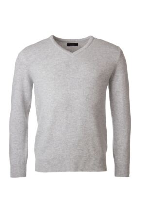 Mens Great & British Knitwear 100% Lambswool Plain V Neck Jumper Blacks and Greys Pearl Grey C Medium
