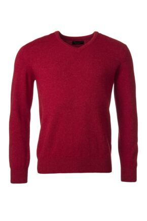 Mens Great & British Knitwear 100% Lambswool Plain V Neck Jumper Reds Orange and Yellow Poppy Melange D Large