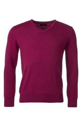 Mens Great & British Knitwear 100% Lambswool Plain V Neck Jumper Pinks and Purples Rosehip D Large