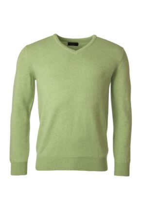 Mens Great & British Knitwear 100% Lambswool Plain V Neck Jumper Browns and Greens Kiwi E Extra Large