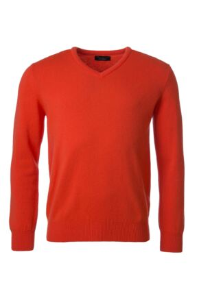 Mens Great & British Knitwear 100% Lambswool Plain V Neck Jumper Reds Orange and Yellow Crab Apple F Xx-Large