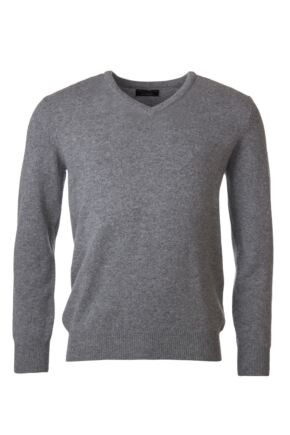 Mens Great & British Knitwear 100% Lambswool Plain V Neck Jumper Blacks and Greys Dove Grey C Medium