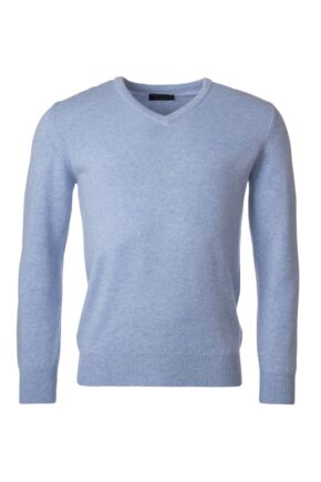 Mens Great & British Knitwear 100% Lambswool Plain V Neck Jumper Blue Shades