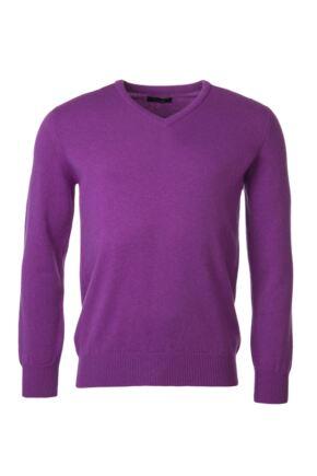 Mens Great & British Knitwear 100% Lambswool Plain V Neck Jumper Pinks and Purples Foxglove F Xx-Large