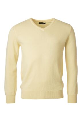 Mens Great & British Knitwear 100% Lambswool Plain V Neck Jumper Reds Orange and Yellow Solar B Small