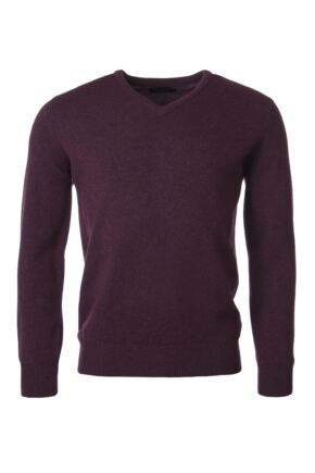 Mens Great & British Knitwear 100% Lambswool Plain V Neck Jumper Pinks and Purples Black Grape C Medium