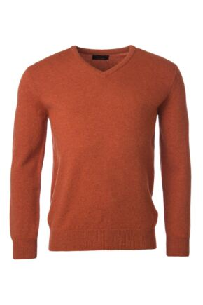 Mens Great & British Knitwear 100% Lambswool Plain V Neck Jumper Reds Orange and Yellow Ember C Medium