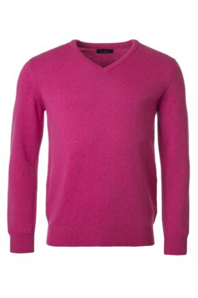 Mens Great & British Knitwear 100% Lambswool Plain V Neck Jumper Pinks and Purples Damask B Small