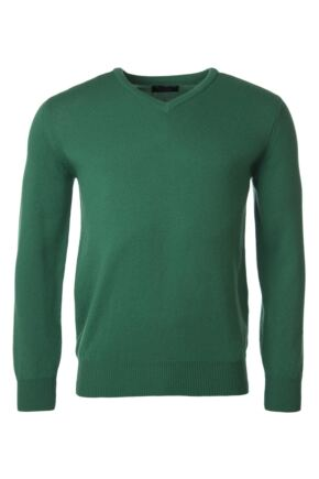 Mens Great & British Knitwear 100% Lambswool Plain V Neck Jumper Browns and Greens Grove C Medium