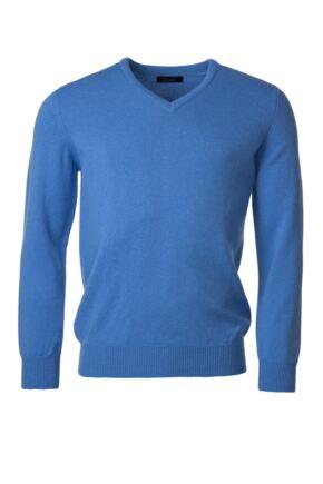 Mens Great & British Knitwear 100% Lambswool Plain V Neck Jumper Blue Shades