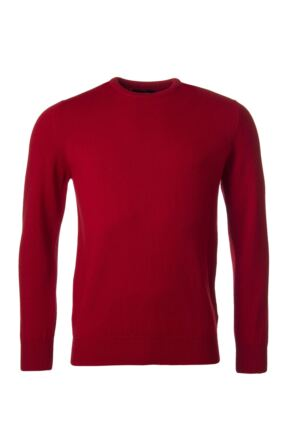 Mens Great & British Knitwear 100% Lambswool Plain Crew Neck Jumper Red Orange and Yellow Dubonnet C Medium