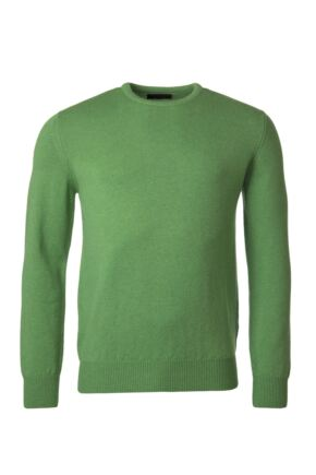 Mens Great & British Knitwear 100% Lambswool Plain Crew Neck Jumper Browns and Greens Topiary B Small