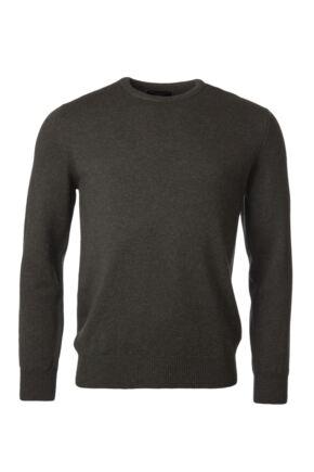 Mens Great & British Knitwear 100% Lambswool Plain Crew Neck Jumper Browns and Greens Seaweed C Medium