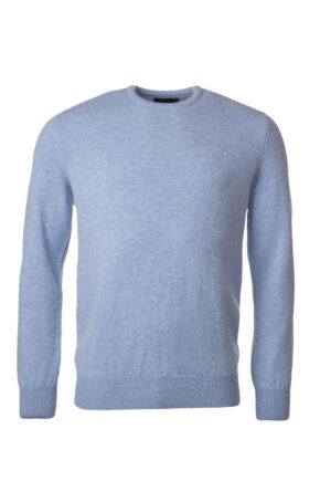 Mens Great & British Knitwear 100% Lambswool Plain Crew Neck Jumper Blue Shades