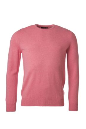 Mens Great & British Knitwear 100% Lambswool Plain Crew Neck Jumper Pink Gloss E Extra Large