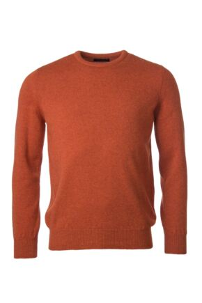 Mens Great & British Knitwear 100% Lambswool Plain Crew Neck Jumper Red Orange and Yellow