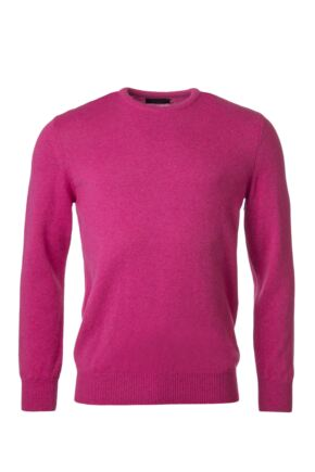 Mens Great & British Knitwear 100% Lambswool Plain Crew Neck Jumper Damask B Small