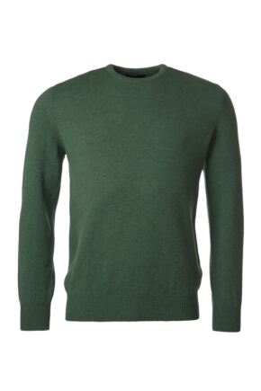 Mens Great & British Knitwear 100% Lambswool Plain Crew Neck Jumper Browns and Greens Courgette B Small