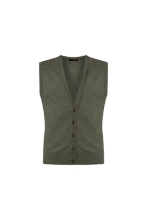 Mens Great & British Knitwear 100% Lambswool V Neck Waistcoat Landscape D Large