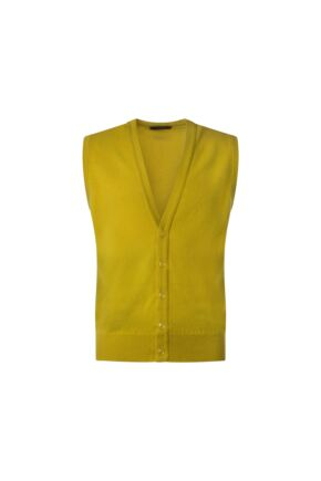 Mens Great & British Knitwear 100% Lambswool V Neck Waistcoat Piccalilli A Extra Small