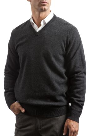 Mens Great & British Knitwear 100% Lambswool Plain V Neck Jumper Blacks and Greys Charcoal B Small