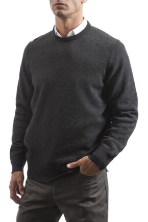 Mens Great & British Knitwear 100% Lambswool Plain Crew Neck Jumper Blacks and Greys Charcoal E Extra Large