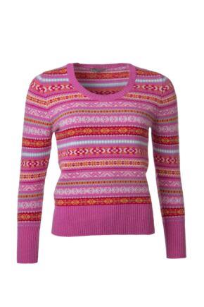 Ladies Great & British Knitwear 100% Lambswool Scoop Neck Fairisle Jumper Cabaret C Medium