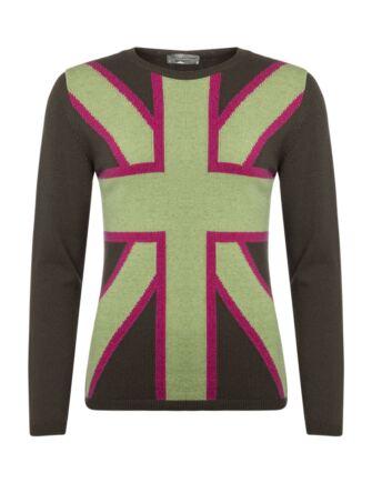 Ladies Great & British Knitwear 100% Lambswool Union Jack Jumper Flint Small