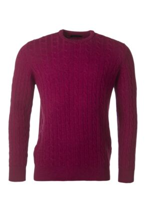 Mens Great & British Knitwear 100% Lambswool Cable & Rib Crew Neck Jumper Rosehip C Medium