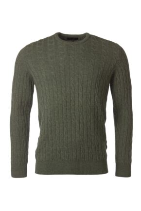 Mens Great & British Knitwear 100% Lambswool Cable & Rib Crew Neck Jumper Landscape D Large